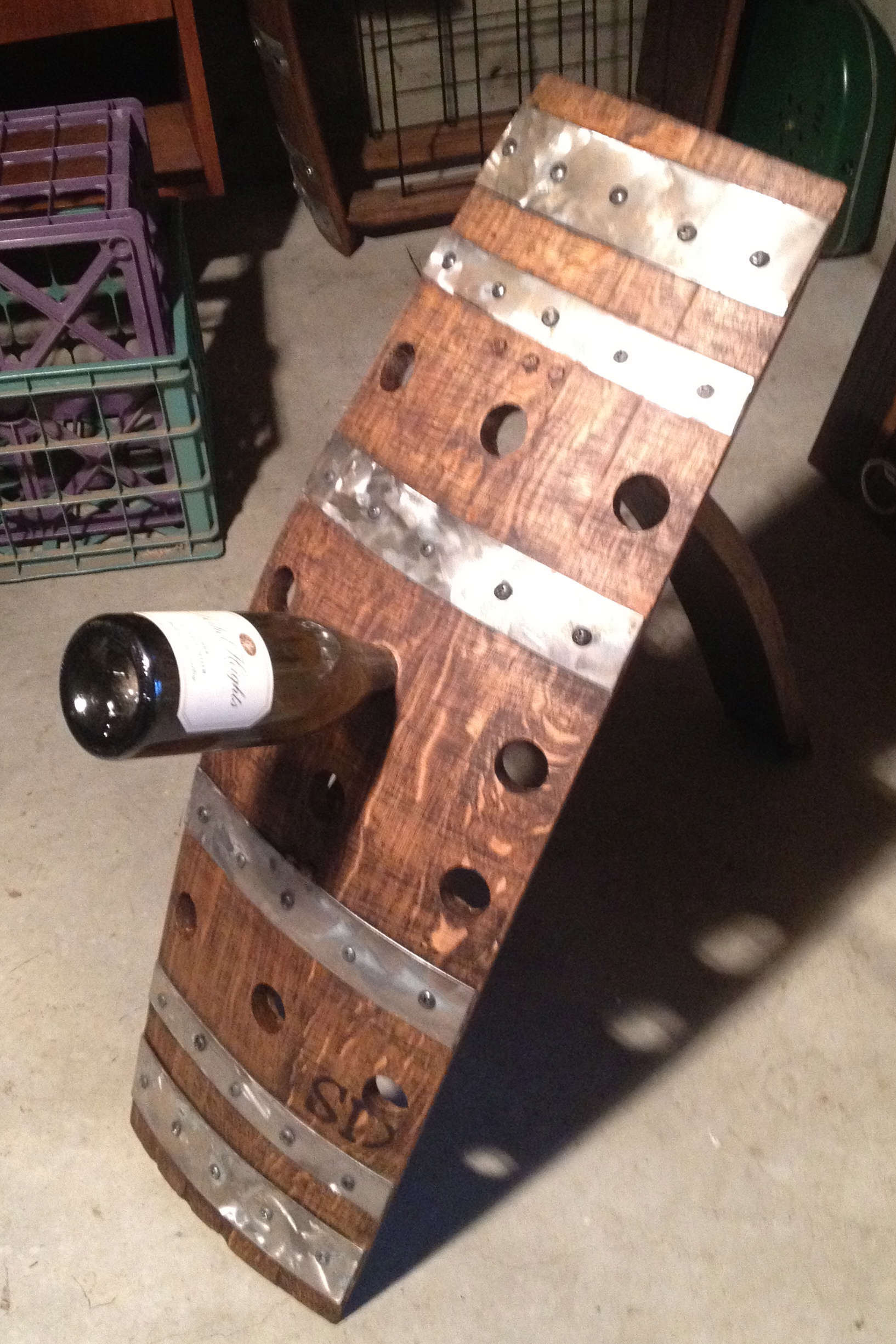 12 Bottle Floor Rack With Steel Stave Designsstave Designs